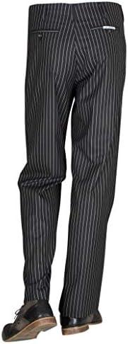 Pantalon pour Homme des années 50 Noir avec Rayures Blanches Pantalon rétro Vintage en Tissu Stly Mens Chino Casual, modèle Swing Taille 44/34