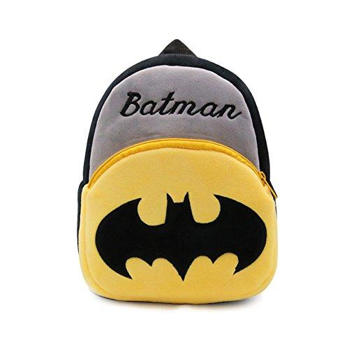 YOURNELO Kid's Plush Cartoon Preschool Toddler Toys Bag Backpack Schoolbag (E Batman) ()