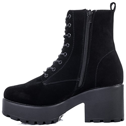 Lace Up Boots Heel Platform Black Suede SPYLOVEBUY Cleated Style Ankle Sole Block Women's Pumps SHOTGUN TtqwUE