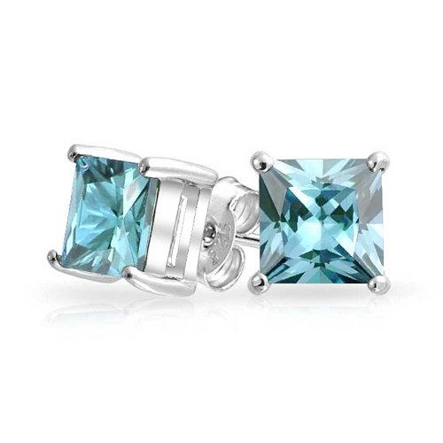 Square Aquamarine 3 Stone Ring - Square CZ Princess Cut Simulated Aquamarine March Birthstone Stud Earrings 925 Silver (7mm)