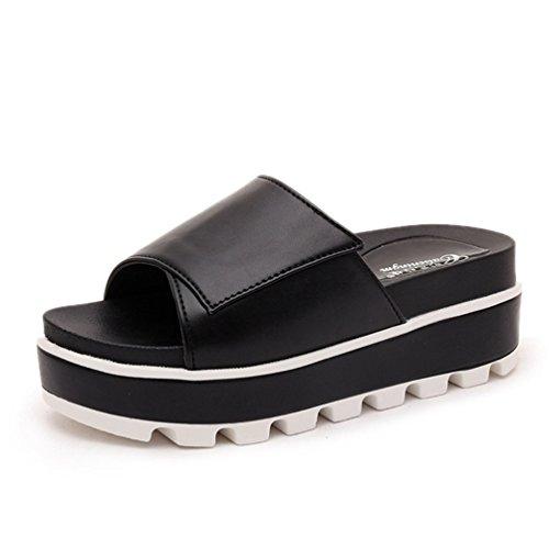 Épaise Platform Mules Chaussures Femmes Chaussures Pantoufles Tongs Sandales Smelle Chausson Noir Plage Plates JITIAN de Mules BqTp7HH