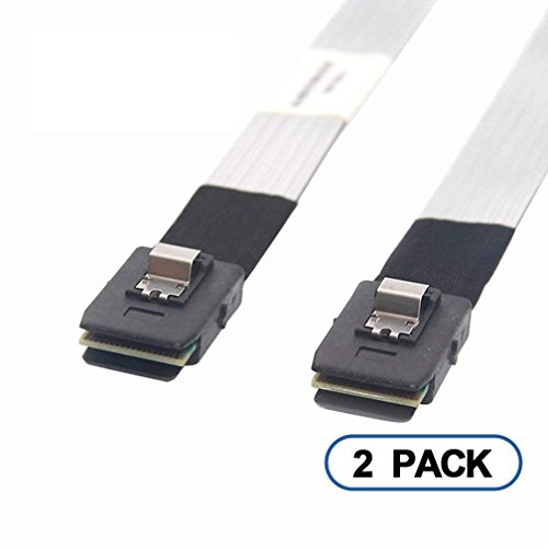 10Gtek Internal Mini SAS SFF-8087 Cable, With Sideband, 0.5-Meter(1.6ft), Thin, Foldable, Flexible, 2 Pack