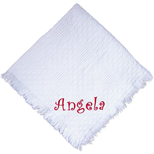 Custom Embroidered Monogrammed Girl White Cotton Woven Personalized Baby Blanket