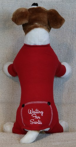 Embroidered Flannel (Dog Christmas Waiting for Santa Embroidered Red Flannel Thermal Pajamas (S))