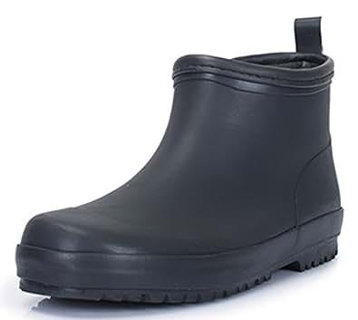 SATUKI Adult Men's Antiskid Short Ankle High Rubber Water Resistant Shoes Rain Boots (7) Black