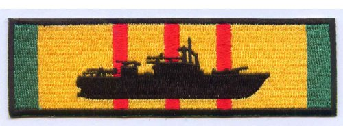 (United States Navy PBR Patrol Boat River Silhouette on Vietnam Service Ribbon Military Patch - Veteran Owned Business)