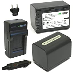 Wasabi Power Battery (2-Pack) and Charger for Sony NP-FH70, NP-FH60 and Sony DCR-DVD650, DCR-HC20, DCR-HC21, DCR-HC22, DCR-HC48, DCR-HC51, DCR-HC52, DCR-HC53, DCR-HC62, DCR-SR42, DCR-SR45, DCR-SR65, DCR-SR82, DCR-SR85, DCR-SR200, HDR-CX7, HDR-CX100, HDR-H
