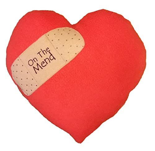 Get Well or Break Up Pillow - On The Mend Red Heart Fleece, Handmade