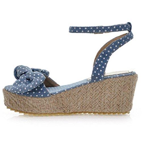Women Wedge Heel TAOFFEN Sandals Blue Light pwByqdH