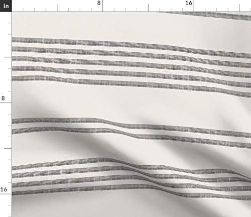 (Gray Stripe Fabric - Grey Ticking Grey Stripes French Ticking Woven Stripe French Stripe Feedsack Print on Fabric by The Yard - Sport Lycra for Swimwear Performance Leggings Apparel Fashion)