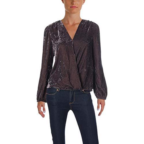 Ella Moss Womens Velour V-Neck Pullover Top Purple S