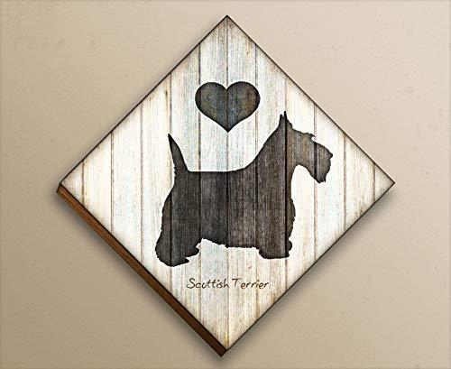 (Scottish Terrier Diamond Shaped Mounted Dog Art Print by Dan Morris)