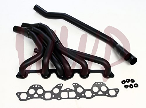 Black Coated Performance Exhaust Header Manifold System Kit For 1977-1983 Nissan/Datsun 280Z/ZX L28E Round ()