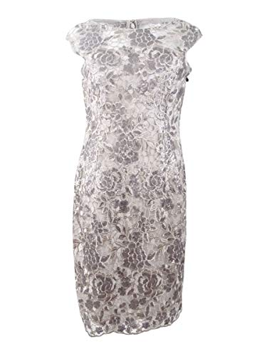 Adrianna Papell Women's Floral Sequin Embroidered Sheath, Light Mink, 4