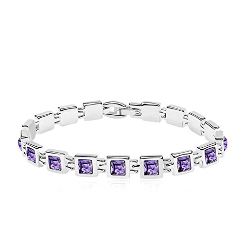 - RIZILIA Tennis Bracelet & Princess Cut Crystal [Simulated Purple Amethyst] in White Gold Plated, 7