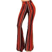 Vivicastle Women's Boho Solid Hippie Wide Leg Flared Bell Bottom Pants