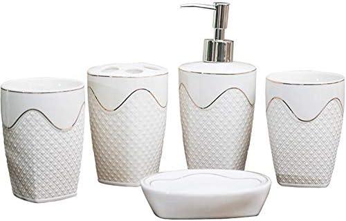 FXin バスルームアクセサリー、5ホワイトゴールド波状パターン家庭用ヨーロッパウォッシュセットのパーソナライズされたセラミックバスルームセット シャワー室