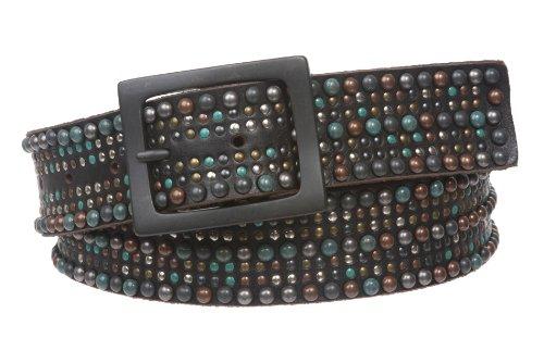 Snap On Tiny Multiple Turquoise Rivet Circle Studded Leather Jean Belt, Black   32 (Center Bar Jean Belt)