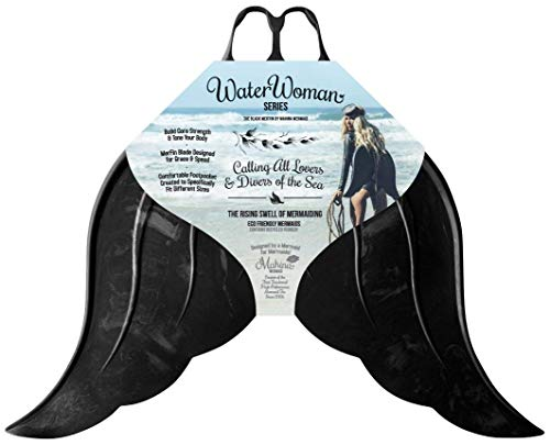 Mahina Mermaid Adult MerFin Classic Series Swim Mono-Fin, Black, Large