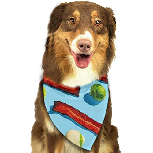 ZZJIAK Dog Bandana Scarf Pop Art Bacon Pattern Triangle Bibs Printing Kerchief Set Accessories Dogs Cats Pets]()