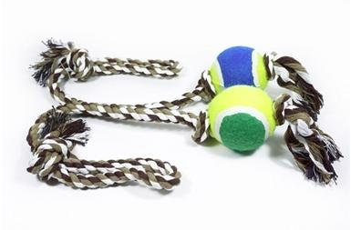 Interactive Knotted Rope & Tennis Ball Chew Dog Toy,1 Pcs.
