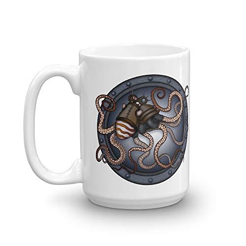 CAVIS Steampunk Octopus Mug, Underwater Seapunk Sci-fi Cosplay Ceramic Coffee Cup (15 oz.)