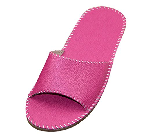 Pantofole Da Donna Cattior Open Toe Comode Pantofole In Pelle Rosa-rosso