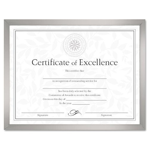 DAX N17002N Value U-Channel Document Frame w/Certificates, 8 1/2 x 11, Silver - Value U-channel Easel