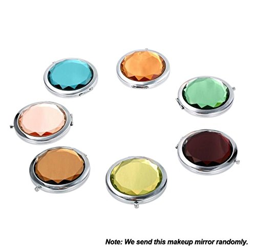 Mini Crystal Makeup Mirror Portable Round Folding Compact Cosmetic Mirror Double Sides Normal Magnifying Mirror Make Up Tools (Random - Dior Compact Mirror