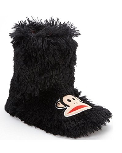 Paul Frank Womens Faux Fur Bootie Slippers - Monkey Black Shaggy e87yvv