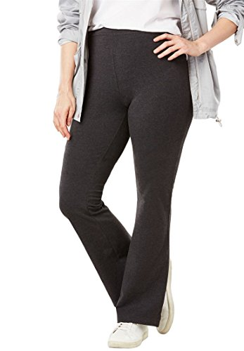 Women's Plus Size Tall Stretch Cotton Bootcut Yoga Pant by Woman Within