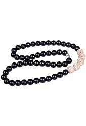 Unisex Black Plastic Beads Elastic Strand Necklace Pave Peach Crystals Balls 12mm
