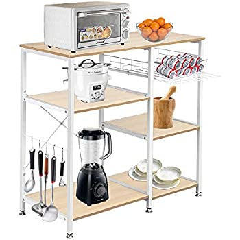 Kitchen Bakers Rack Utility Cart 3 Tier Microwave Oven Stand Kitchen Island Storage Rack 35 5 Inch Metal Spice Rack Coffee Bar Cart Kitchen Storage Workstation Shelf With 5 Hooks Adjustable Leg Pads Baker S Racks Home