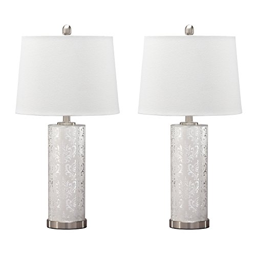 Ashley Furniture Signature Design - Nichole Etched Mercury Glass Table Lamp Set with Drum Shades - Traditional - Set of 2 - Silver Finish