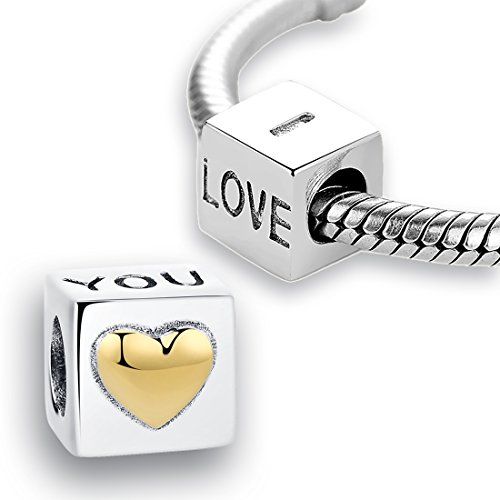 Kigmay Jewelry 925 Sterling Silver Square Cube Cut With Gold Plated Heart Charm Bead for for Women's Snake Chain Bracelet