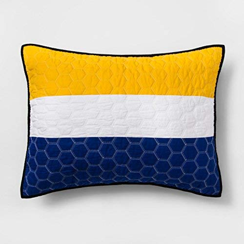 Pillowfort Gray Sports Stripes Quilted Cotton Standard Pillow Sham - Yellow, Blue, White by Pillowfort