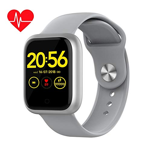 GT1 Fitness Smart Watch with 24/7 Heart Rate Blood Pressure Sleep Monitor Acitivty Tracker Sports Watch with Bluetooth 5.0 IP68 Waterproof 15 Days Battery Life Compatible for Android & iOS Phones