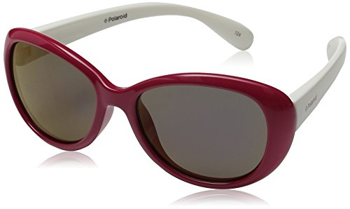 Polaroid Kids Sunglasses Pld8004s Polarized Oval Sunglasses, Red/Purple Polarized, 48 mm