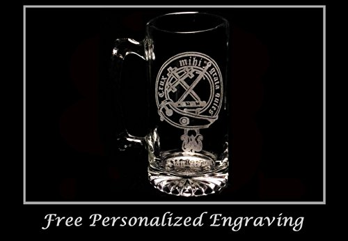 Clan Adam Scottish Crest 27oz Beer Stein: Free Shipping & Personalized Engraving, Family Crest, Etched Clan Crest by LyonCraft