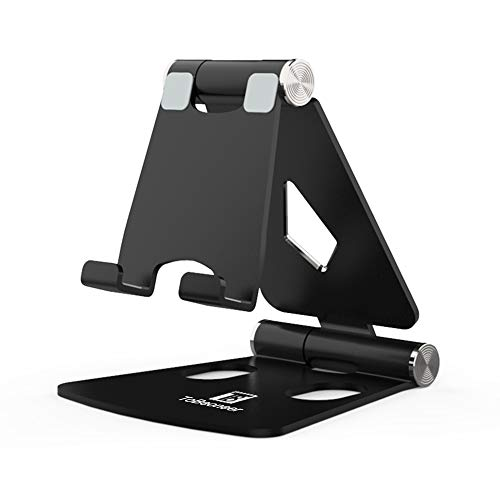 Adjustable Cell Phone Stand - ToBeoneer Phone Holder for Desk, [Dual Angle] Portable Small Size Desktop Dock Compatible with iPhone XR XS X 9 8 7 6 Plus Samsung Google, Office Home Décor (Black)