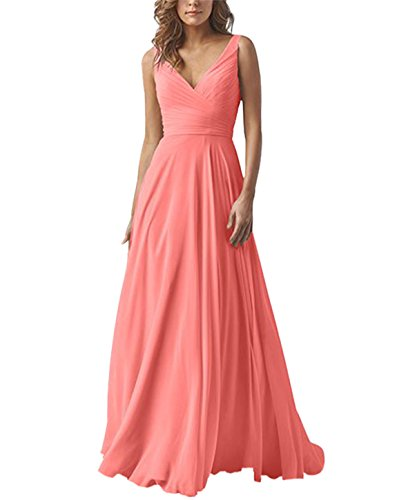 Yilis Double V Neck Elegant Long Bridesmaid Dress Chiffon Wedding Evening Dress Coral -