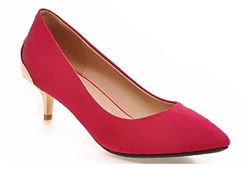 court shoes beaded shallow mouth metal Pointed toe thin with mid heel shoes solid color diamond shoes , peach red , 38