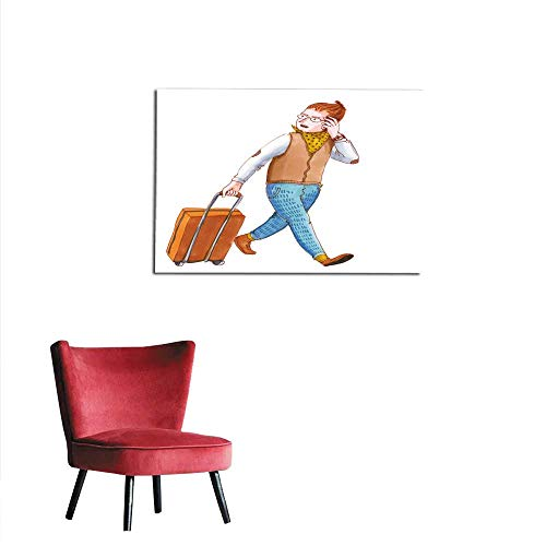 corridor/indoor/living room Watercolor illustration isolated on white background Handsome young man on trip walking with his luggage and talking on cellphone Travelling businessman makimural 36