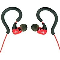 iAltCom Gab Gear Comfortable Stereo Wired Ear-hook Earbuds with Microphone in Red and Black