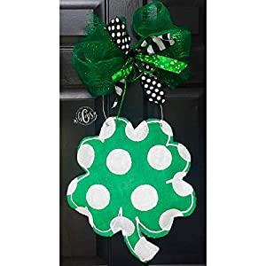 Polka Dot Shamrock Burlap Door Hanger- Shamrock Burlap Door Hanger-St. Patricks Day Door Hanger- St. Patricks Day Wreath-Shamrock Wreath-Door Decor 8