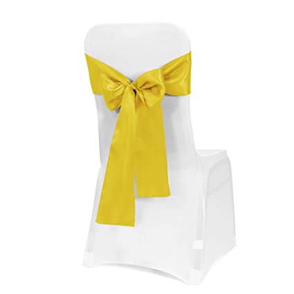 Obstal 10 Pcs Satin Chair Sashes Bows For Wedding Reception Universal Chair Cover Back Tie Supplies For Banquet Party Hotel Event Decorations