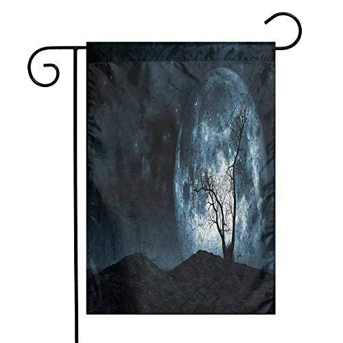 Mannwarehouse Fantasy Garden Flag Night Moon Sky with Tree Silhouette Gothic Halloween Colors Scary Artsy Background Premium Material W12 x L18 Slate Blue