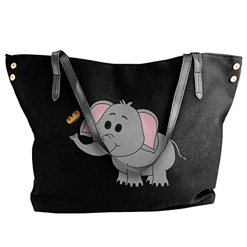 Elephant Butterfly Playful Womens Tote Bags Canvas Shoulder Handbag Satchel Bag