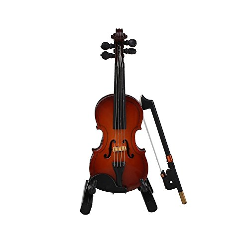 Xinzhi Mini Handheld Violin Toy -Miniature Musical Instruments Collection Wooden Decorative Ornaments/Gift with Stand Support and Case