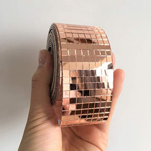 NUORUI Self-Adhesive Real Glass Craft Mini Square Mirrors Mosaic Tiles Mirror Sheets Mosaic Sticker (Rose Gold, 3M Length)